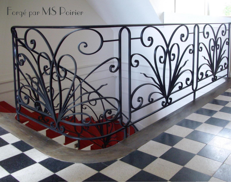 rampe d 39 escalier en fer forg mod le bouquet cr ation stephan poirier. Black Bedroom Furniture Sets. Home Design Ideas
